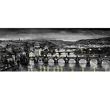 BW Prague Bridges Photographic Print