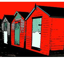 Beach huts ...redhothut life's a beach Photographic Print