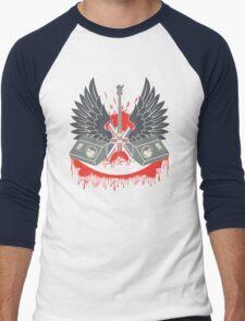 British Music Guitar Wings Collage Men's Baseball ¾ T-Shirt