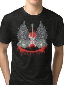 British Music Guitar Wings Collage Tri-blend T-Shirt