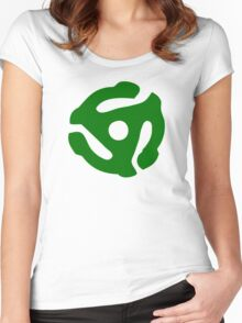 Green 45 Vinyl Record Symbol Women's Fitted Scoop T-Shirt