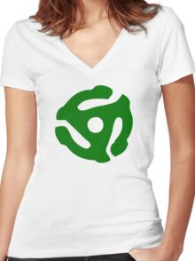 Green 45 Vinyl Record Symbol Women's Fitted V-Neck T-Shirt