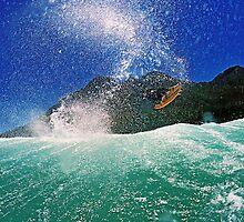 Andrew Langer boosting big air, Kogel Bay, Western Cape, South Africa. by Gerhard Engelbrecht
