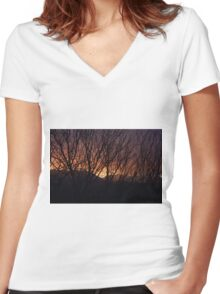 Sunset Through the Brush Women's Fitted V-Neck T-Shirt