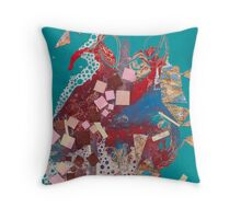 Stained Turquoise Throw Pillow