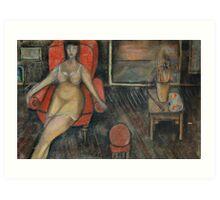 Woman in the arm-chair Art Print
