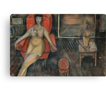 Woman in the arm-chair Canvas Print