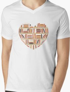 I Heart Books Mens V-Neck T-Shirt