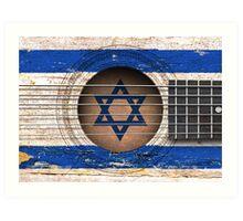 Old Vintage Acoustic Guitar with Israeli Flag Art Print