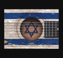 Old Vintage Acoustic Guitar with Israeli Flag Kids Clothes