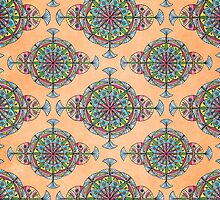 Vintage Moroccan Pattern in Peach by Heaven7