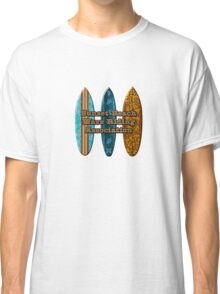 Sunset Beach Hawaiian Faux Koa Wood Surfboard - Aqua Classic T-Shirt