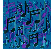 Music Notes Lively Expressive Blue Green Photographic Print