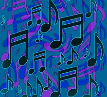 Music Notes Lively Expressive Blue Green by M Sylvia Chaume