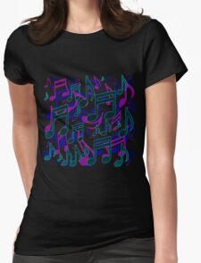 Music Notes Lively Expressive Blue Green Womens Fitted T-Shirt