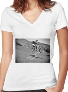 Mtb Freeride Women's Fitted V-Neck T-Shirt