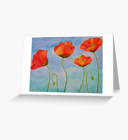 red amapola Greeting Card
