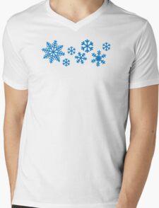 Blue snowflakes Mens V-Neck T-Shirt