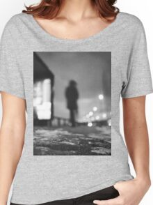 Man waiting at bus stop at night in winter square black and white analogue medium format film Hasselblad  photo Women's Relaxed Fit T-Shirt