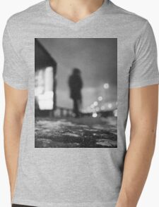 Man waiting at bus stop at night in winter square black and white analogue medium format film Hasselblad  photo Mens V-Neck T-Shirt