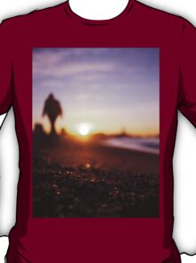 Man walking on beach at sunset square color analogue medium format film Hasselblad photograph T-Shirt