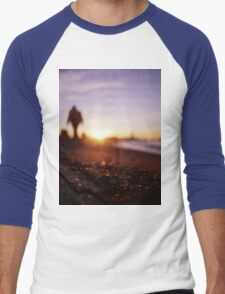 Man walking on beach at sunset square color analogue medium format film Hasselblad photograph Men's Baseball ¾ T-Shirt