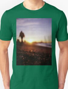 Man walking on beach at sunset square color analogue medium format film Hasselblad photograph Unisex T-Shirt