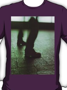 Surrealist photo of legs walking without bodies square color analogue medium format film Hasselblad photo T-Shirt