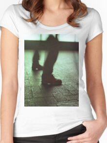 Surrealist photo of legs walking without bodies square color analogue medium format film Hasselblad photo Women's Fitted Scoop T-Shirt