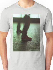 Surrealist photo of legs walking without bodies square color analogue medium format film Hasselblad photo Unisex T-Shirt