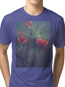 Red wild flowers poppies on hot summer day in blue tones Hasselblad square medium format film analogue photo Tri-blend T-Shirt