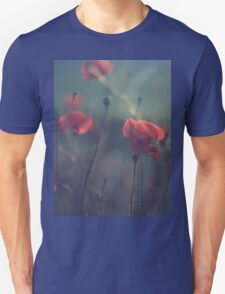 Red wild flowers poppies on hot summer day in blue tones Hasselblad square medium format film analogue photo T-Shirt