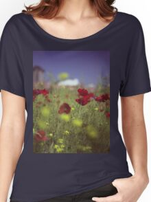 Red wild flowers poppies on hot summer day in urban city wasteland Hasselblad square medium format film analogue photo Women's Relaxed Fit T-Shirt