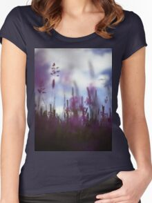Long grass and wild flowers on summer day in Spain square medium format film analogue photography Women's Fitted Scoop T-Shirt
