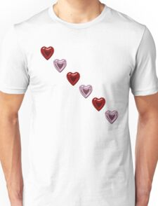 Pink and Red Hearts Unisex T-Shirt