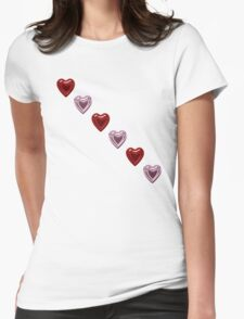 Pink and Red Hearts Womens Fitted T-Shirt