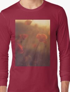 Red wild flowers poppies on hot summer day in brown warm tones Hasselblad square medium format film analogue photo Long Sleeve T-Shirt