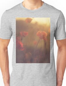 Red wild flowers poppies on hot summer day in brown warm tones Hasselblad square medium format film analogue photo Unisex T-Shirt