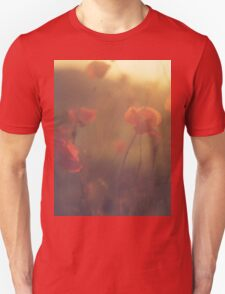 Red wild flowers poppies on hot summer day in brown warm tones Hasselblad square medium format film analogue photo T-Shirt