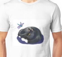 Dragonfly Buzzes a Resting Cat Unisex T-Shirt