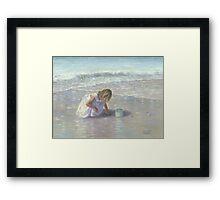 FINDING SEA GLASS BLOND BEACH GIRL Framed Print