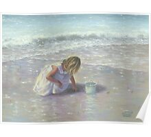 FINDING SEA GLASS BLOND BEACH GIRL Poster