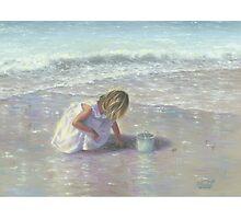 FINDING SEA GLASS BLOND BEACH GIRL Photographic Print