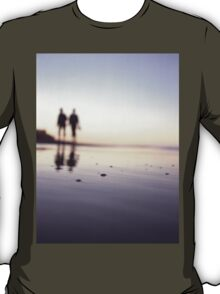 Two people walking on beach on summer evening Hasselblad medium format film analog photograph T-Shirt