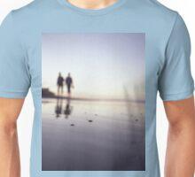 Two people walking on beach on summer evening Hasselblad medium format film analog photograph Unisex T-Shirt