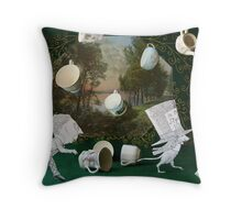 Mad Tea Party: The aftermath Throw Pillow