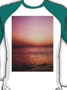Coastal shoreline in surreal red purple pink sunset evening dusk colors Hasselblad medium format film analog photo T-Shirt
