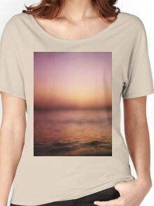 Coastal shoreline in surreal red purple pink sunset evening dusk colors Hasselblad medium format film analog photo Women's Relaxed Fit T-Shirt