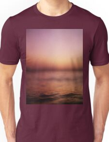 Coastal shoreline in surreal red purple pink sunset evening dusk colors Hasselblad medium format film analog photo Unisex T-Shirt
