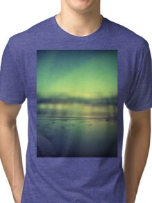 Coastal shoreline in surreal green blue Hasselblad medium format film analog photograph Tri-blend T-Shirt
